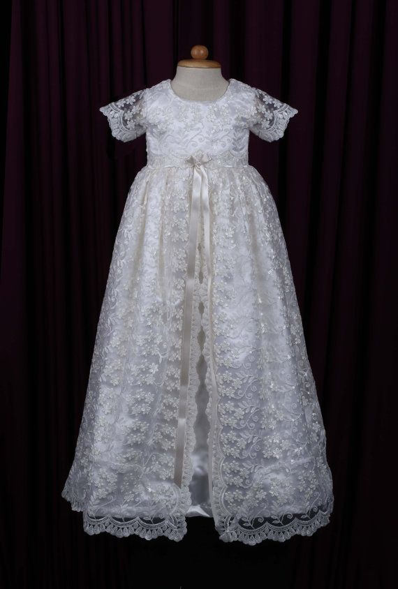 bd20ca5b1afcc Stunning Off White Lace Christening Gown, Baptism, Dedication, 0 - 3 ...
