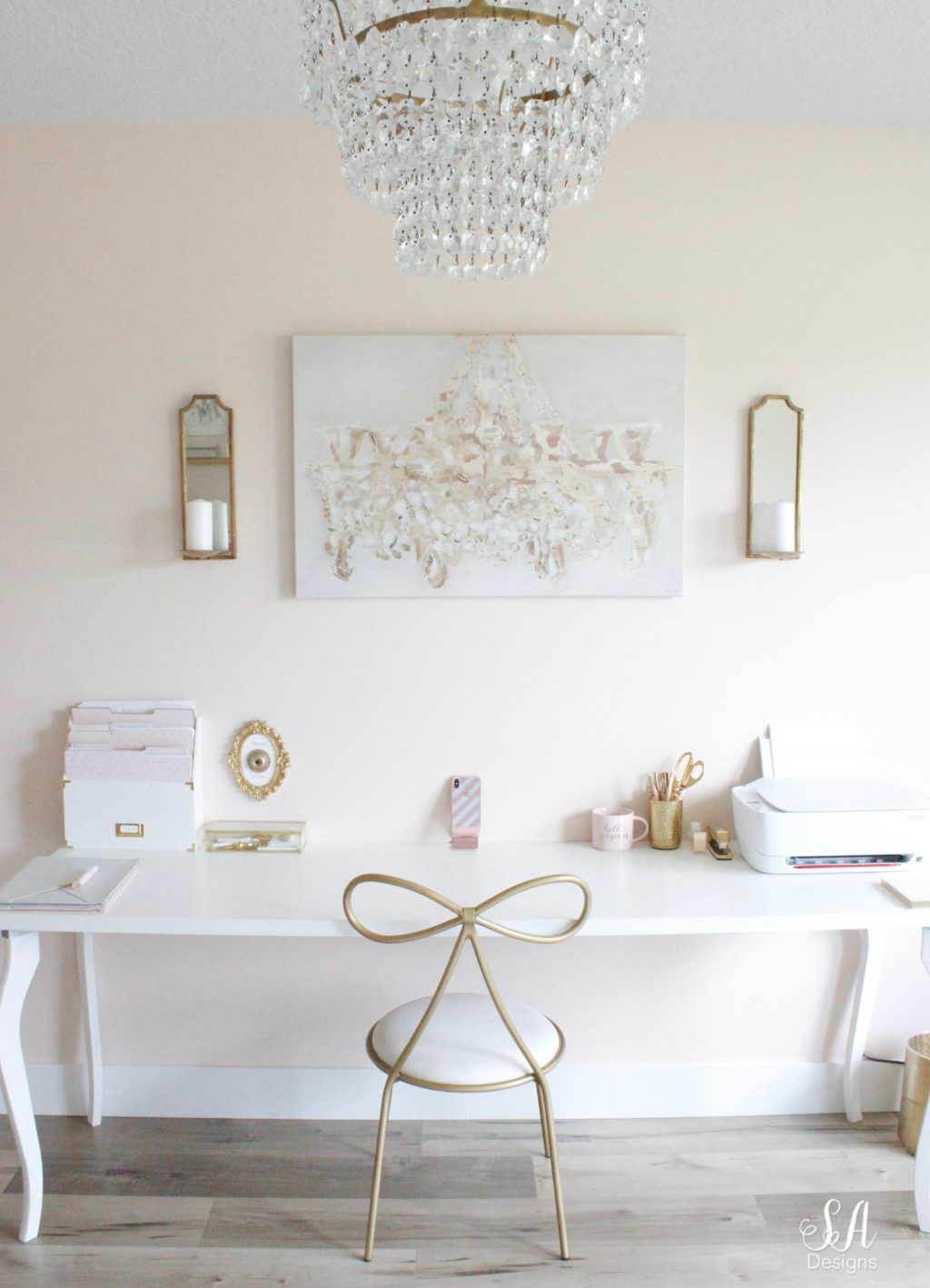 Updated Glam Office Reveal With Blush Pink Walls Glam