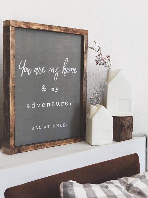 YOU ARE MY Home Sign – Bedroom Sign – Living Room Decor – Farmhouse Decor – Modern Farmhouse Decor – Hand painted Wood Sign – Wall Art