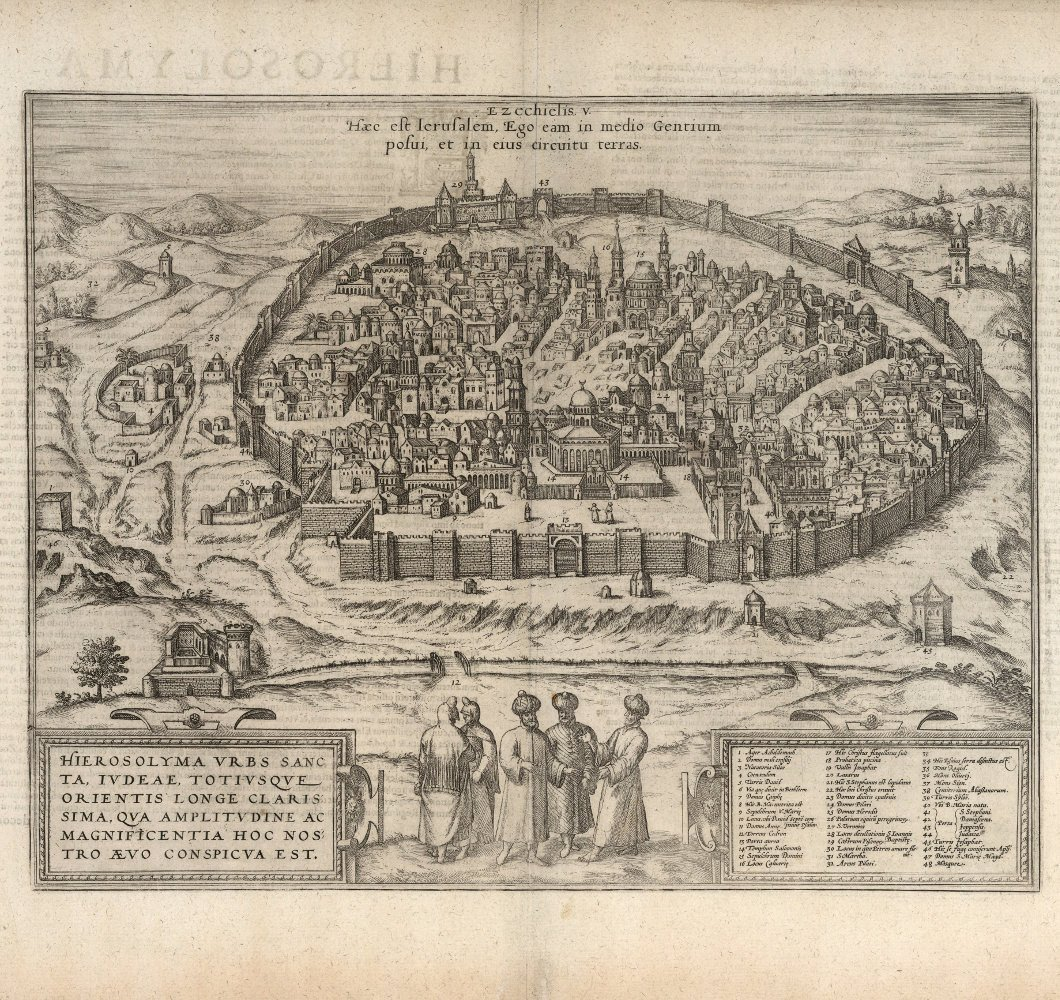 Historical City Map of Jerusalem 16th Century
