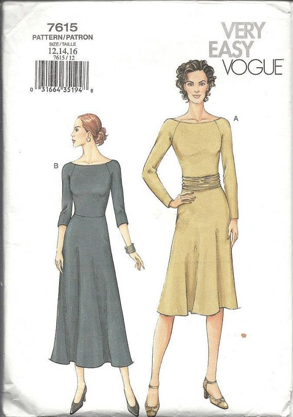 Vogue 7615 Dress Vogue Sewing Pattern Very Easy Dress Size 12 14 16 ...