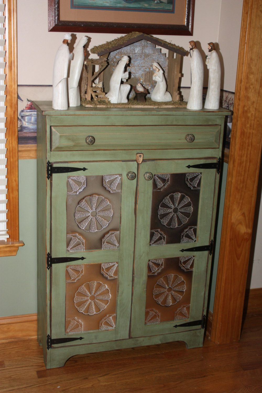 Pie Safe, FREE SHIPPING, Punched Tin, Cabinet, Shabby, Chic, Media