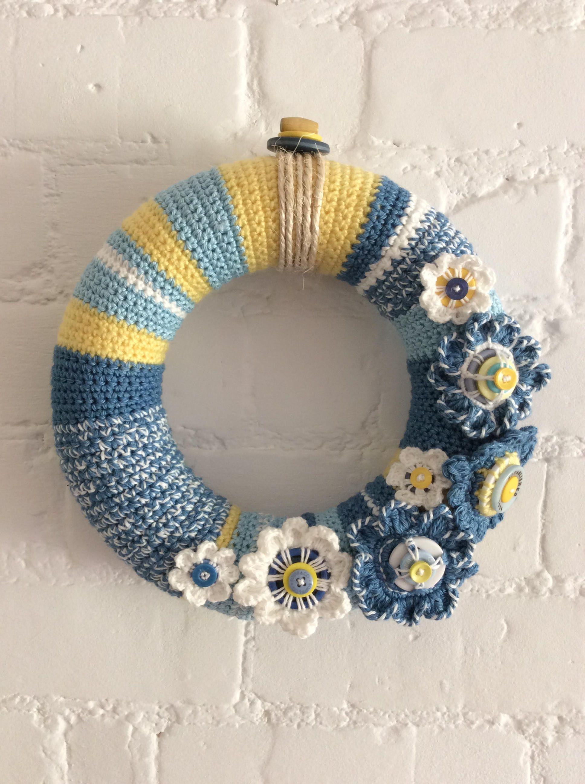Photo of Crochet flower wreath, door wreath, spring wreath, flower wall hanging, summer wreath