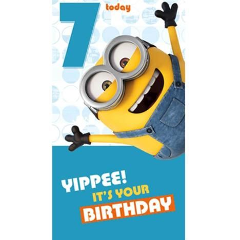 7 Today Minions Birthday Card Minion Birthday Card Minion Birthday Minion Card