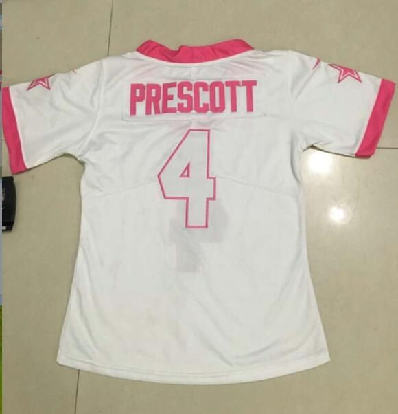 c2d2070a93d Nike Cowboys  4 Dak Prescott White Pink Women s Stitched NFL Limited Rush  Fashion Jerseys