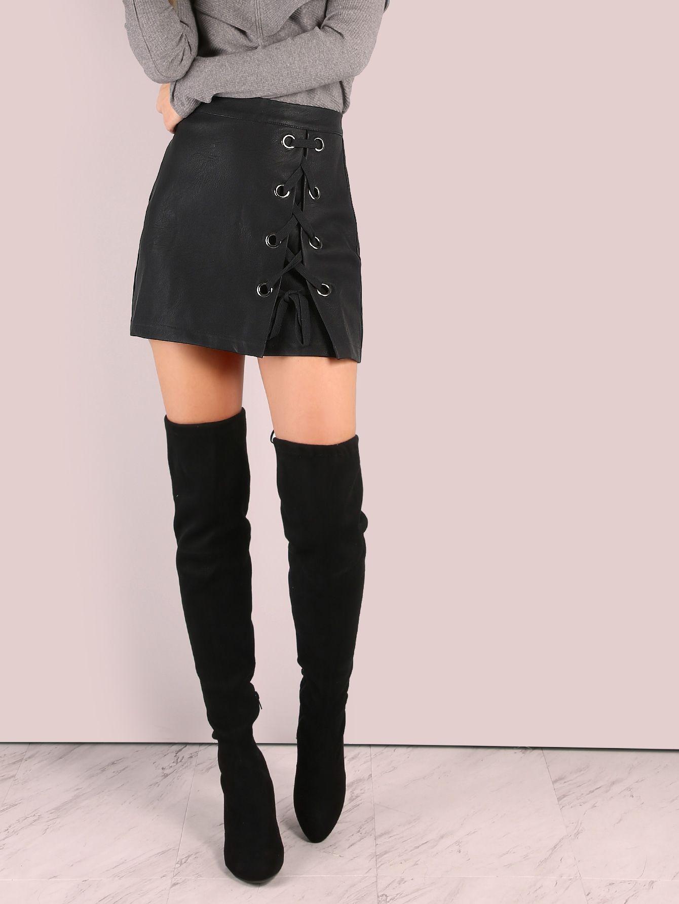 483e1131a Falda de cuero sintético con cordón - negro -Spanish SheIn(Sheinside ...