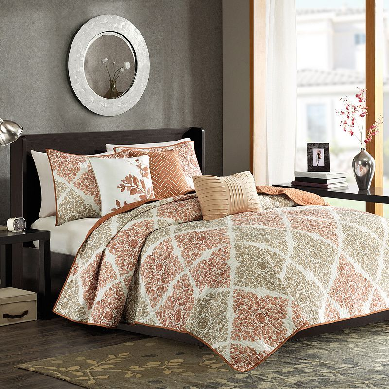 Madison Park Arista 6-pc. Quilted Coverlet Set, Brown