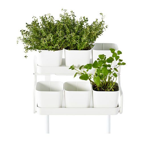 Ikea Plant 6 Pots With Holder Indoor Outdoor White Hang On Balcony Rail