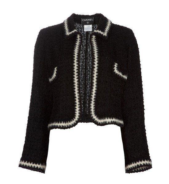Veste sans col Gilet noir et blanc CHANEL   grande taille   Chanel ... 45effddef1c