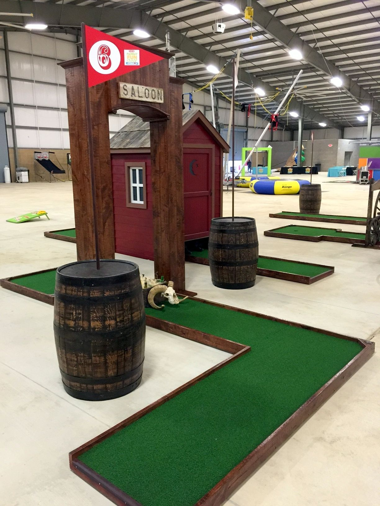 Western barrel themed hole for 9hole miniature golf