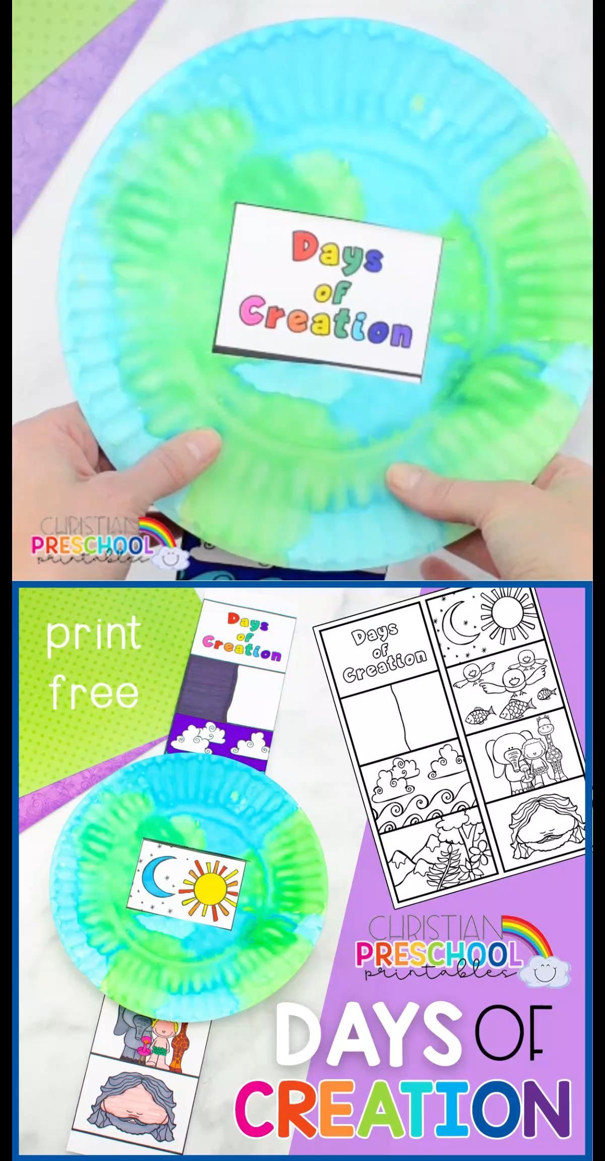 Try this FREE Days of Creation Bible Craft for Kids! Great for Preschool, Sunday School, Children's Ministry, Homeschool and more. Learn the days of creation with this simple paper plate craft