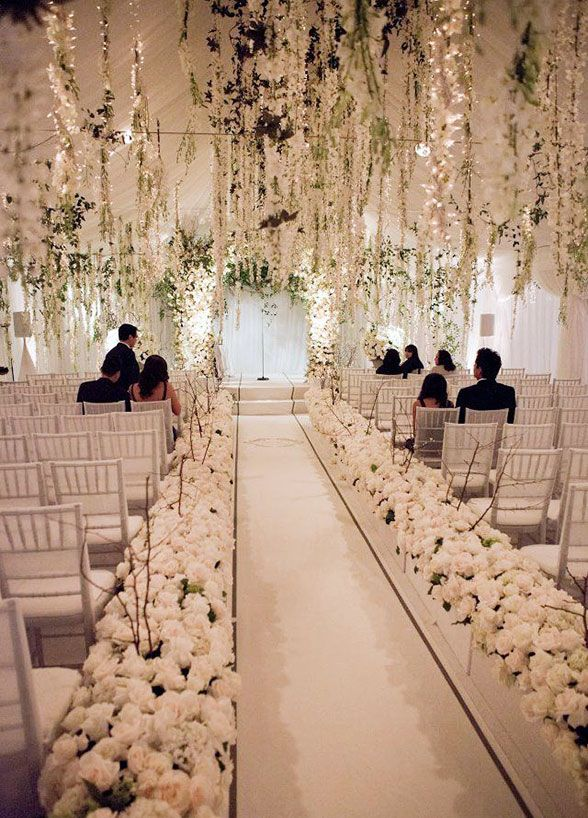 Wedding Flowers, Wedding Decorations, Flower Arrangements, Flower Chandelier || Colin Cowie Weddings