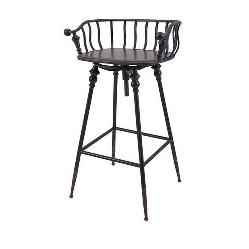 "Imax Crestly Metal Bar Chair 19207 - Imax Crestly Metal Bar Chair 19207Dress Up Your Bar With This Colonial Style Metal Bar Chair In A Rustic Black Finish. Coordinate With Crestly Metal Bar Table (19206)SKU: 19207Manufacturer: ImaxCategory: SeatingMaterials: 100% IRONFinish: Rustic & BlackCountry Of Origin: ChinaUPC Code: 784185192070Item Weight: 17.16 LbsReshipper  Weight: 20.16 LbsDimensions: 36.5""H x 22.5""W x 17.5""Reshipper Dimensions: 30.71""L x 22.05""W x 19.29""H"