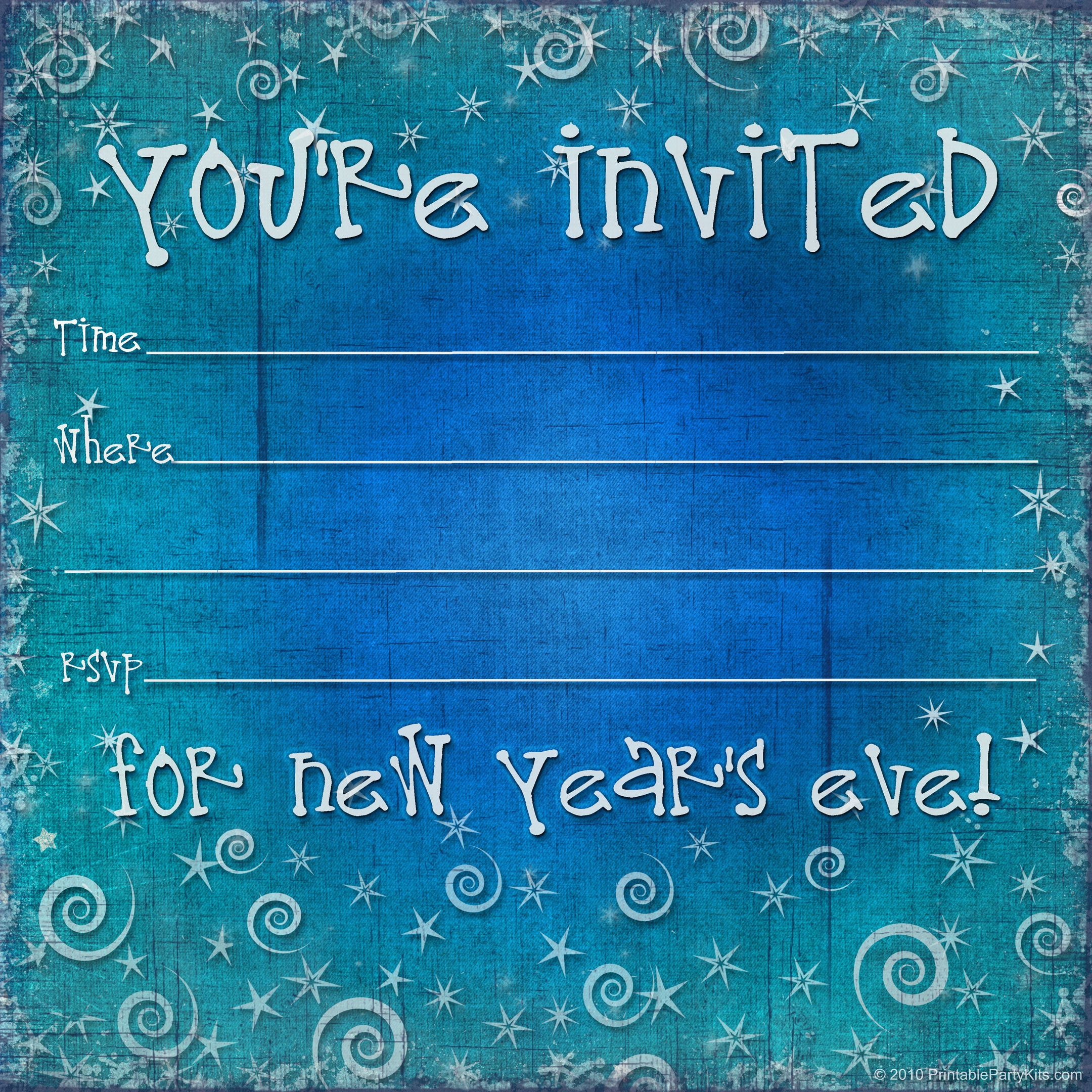 FREE printable New Years Eve party invitation Party