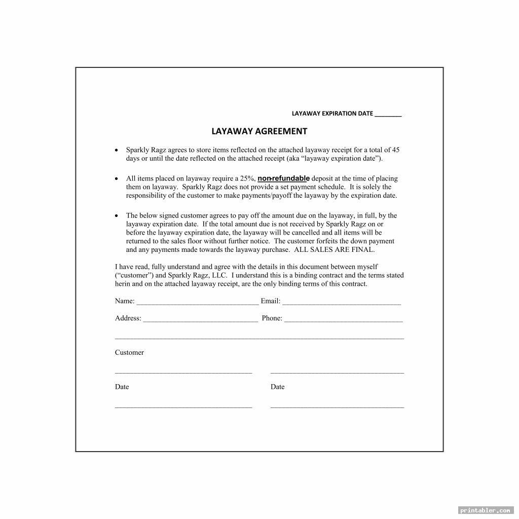 Layaway Agreement Form Printable For Use Printabler Com Layaway Printables Template Printable