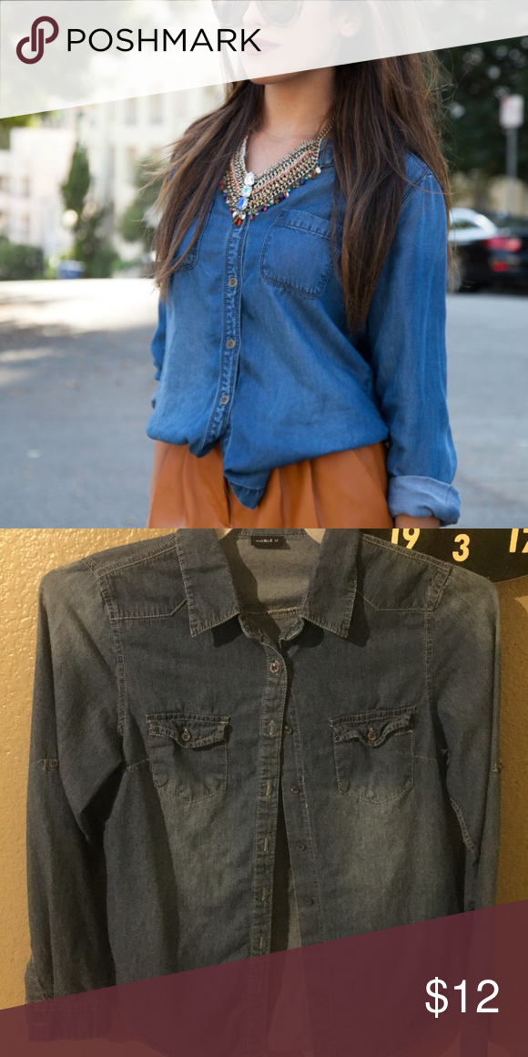 Denim Top! Adorable denim top! Barely worn, in great condition!                                                                             First pic is more of a styling idea, and not the actual item pictured! Second picture shows the true item, except the colors are a little muted in the second photo then compared to the actual top. Very cute top! Tops Button Down Shirts