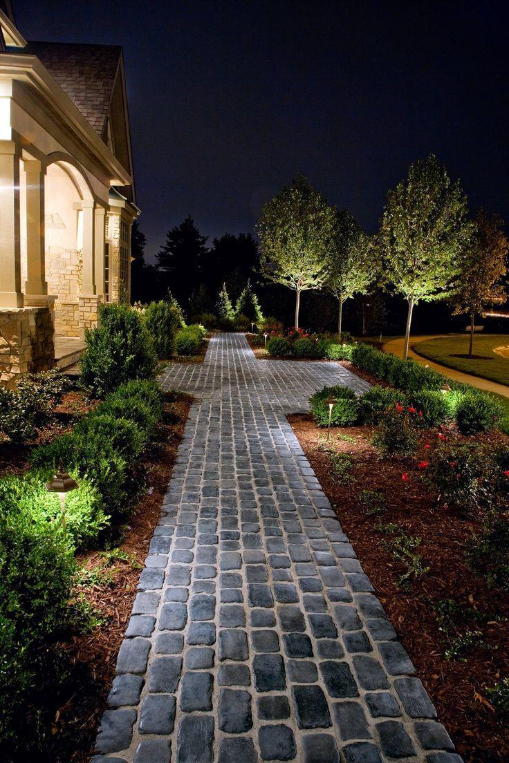 Image result for brick front walkways hardscapes for Driveway landscape lighting