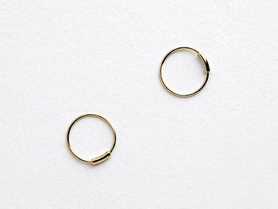 14k Gold Ultra Thin Hoop Earrings 10mm Tiny Circle Hoops