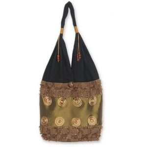 Novica Cotton shoulder bag, Brown Thai Universe