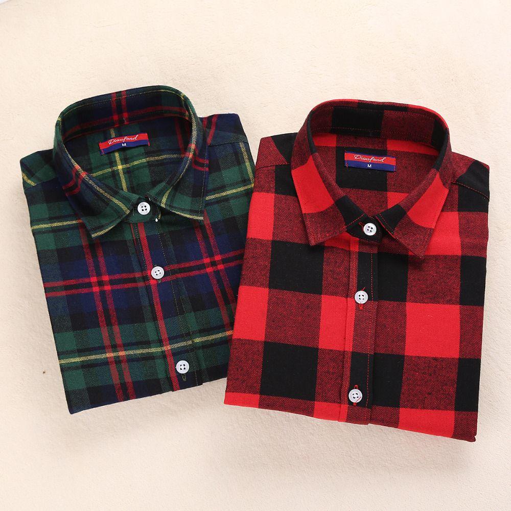 Flannel shirt women  New Womens Flannel Shirt Women Long Sleeve Blouse Winter Flannel