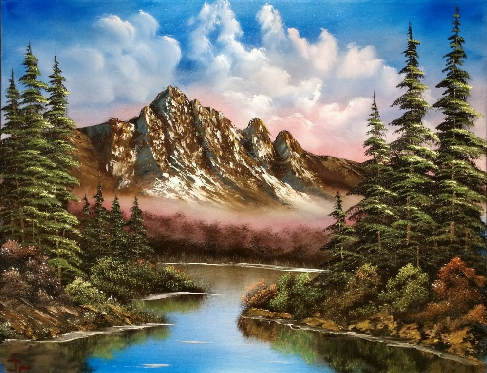Original Signed 22x28 Landscape Oil Painting In The Style Of Bob Ross Art Decor Ebay Oil Painting Landscape Bob Ross Art Landscape Paintings