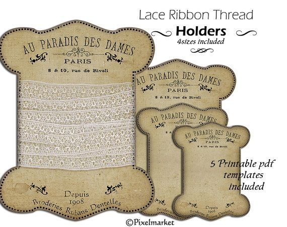 Printable Lace And Ribbon Keepers Storage Card Thread Spool Card