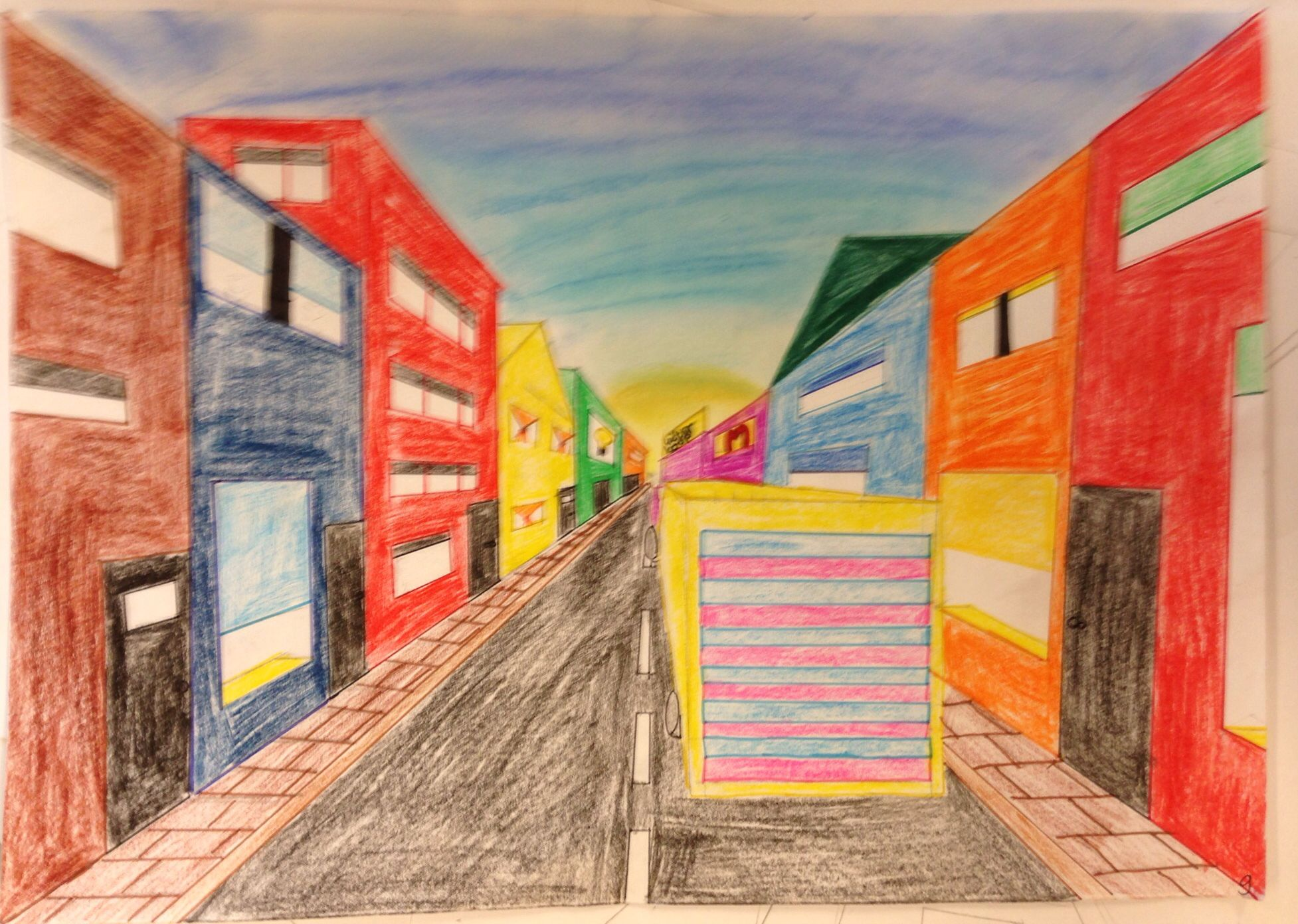 Een punt perspectief gemaakt door een leerling perspectief tekenen pinterest doors - Scheiden een kamer door een gordijn ...