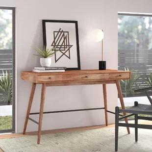 Modern Contemporary Skinny Desk Allmodern In 2020 Solid Wood Writing Desk Wood Writing Desk Office Furniture Modern
