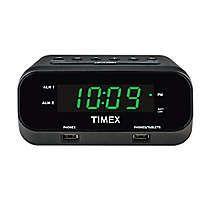 Timex RediSet Dual Alarm Clock with Dual USB Charging Ports