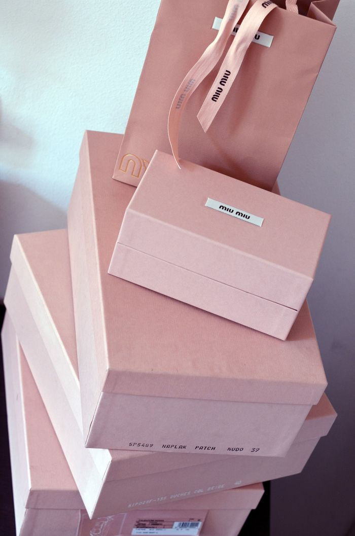 719bfb417d75 Color that Represents a Brand - Miu Miu boxes - great for gift wrapping!