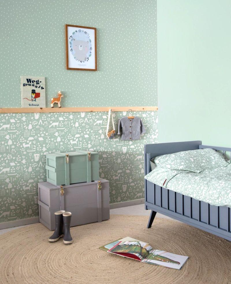 Kinderzimmer Tapete aus Vlies 'Adventure' mint Babykamer