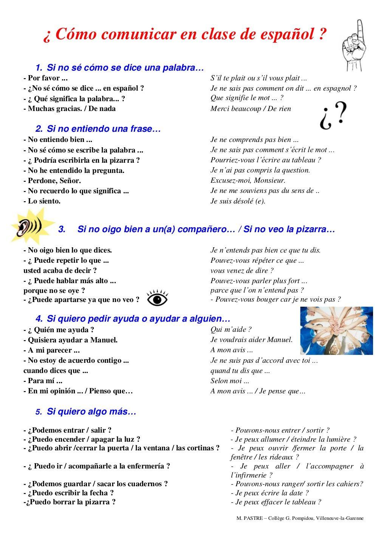 Vocabulario Para Comunicar En Clase De Espanol By Pastre