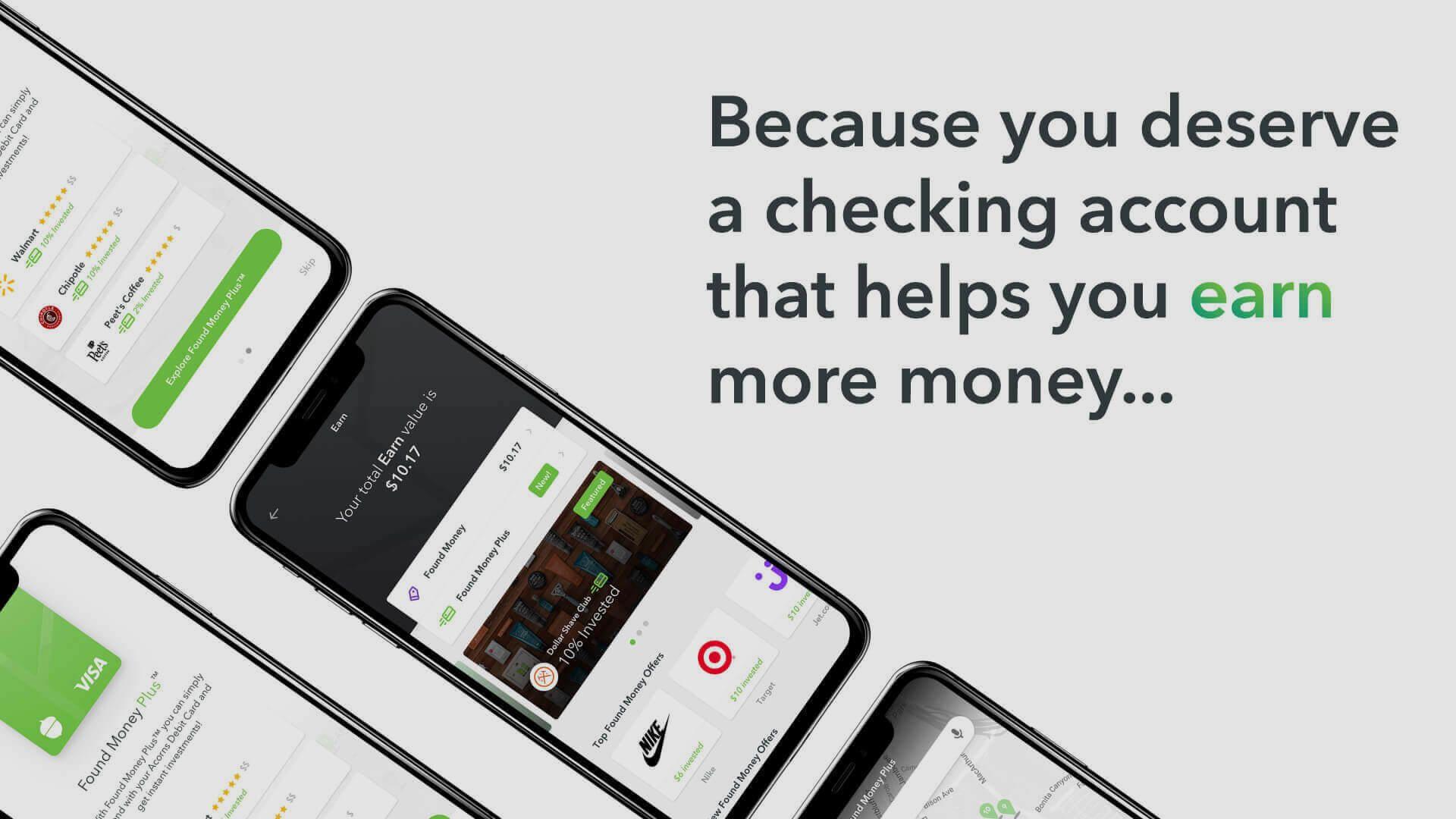 Acorns spend debit card and checking account acorns