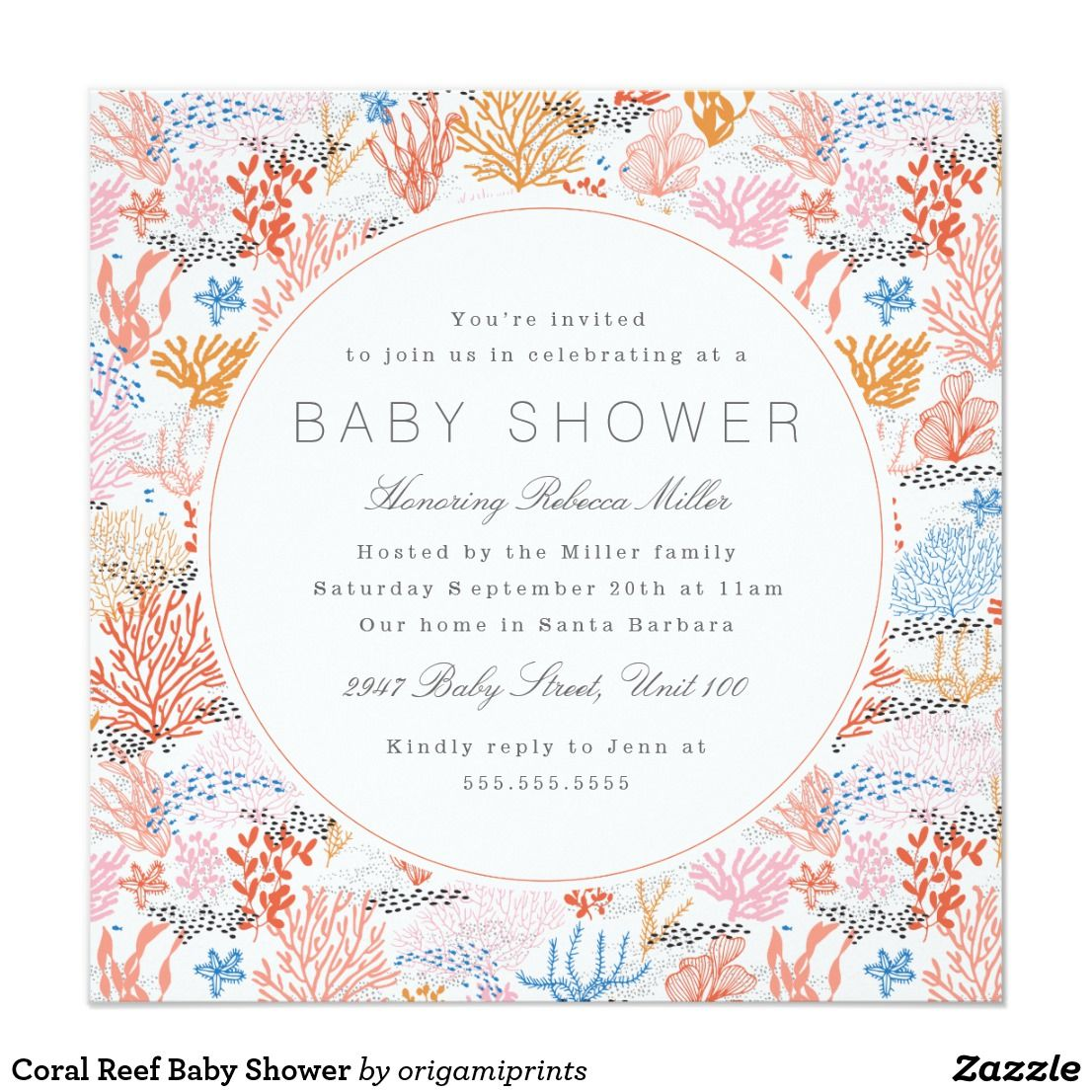 Coral Reef Baby Shower Card | Coral reefs and Shower invitations