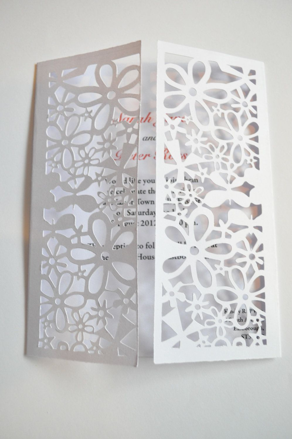 Deluxe Flower Butterfly Gatefold Laser Cut Wedding Invitation Pack Of 25 £4900 Via Etsy: Pea Wedding Invitations Cut Out At Websimilar.org