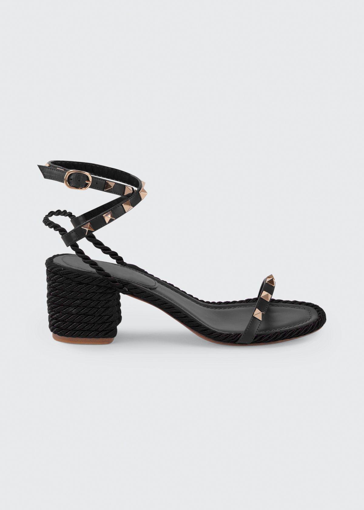 Valentino Garavani Valentino Rockstud Rope Sandal In Black Modesens In 2020 Valentino Rockstud Strappy Block Heel Sandals Ankle Strap Sandals
