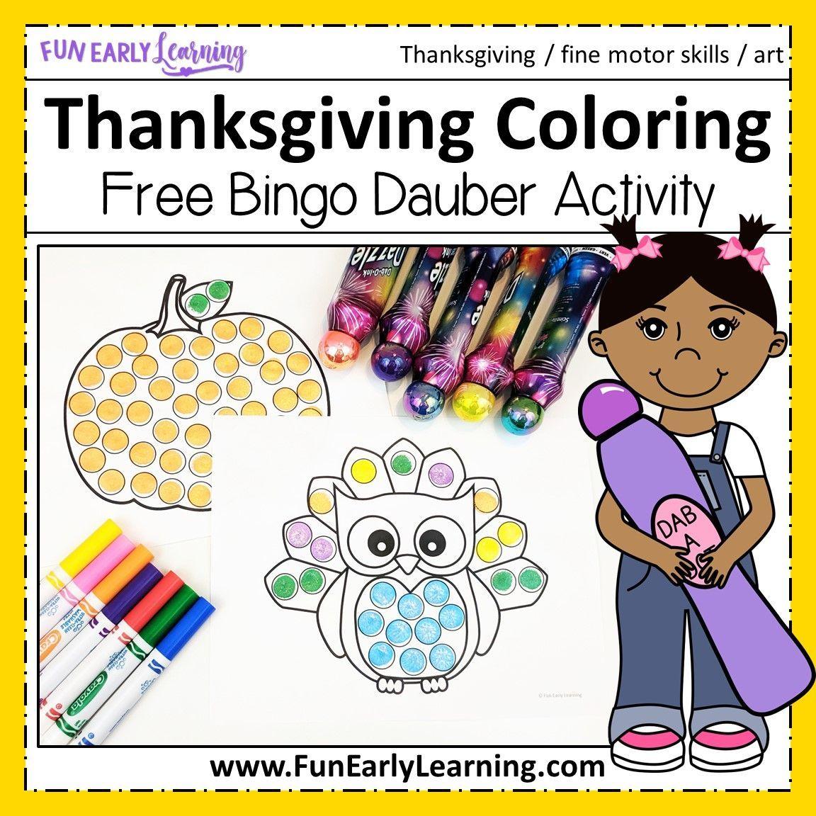 Thanksgiving Bingo Dauber Coloring Pages