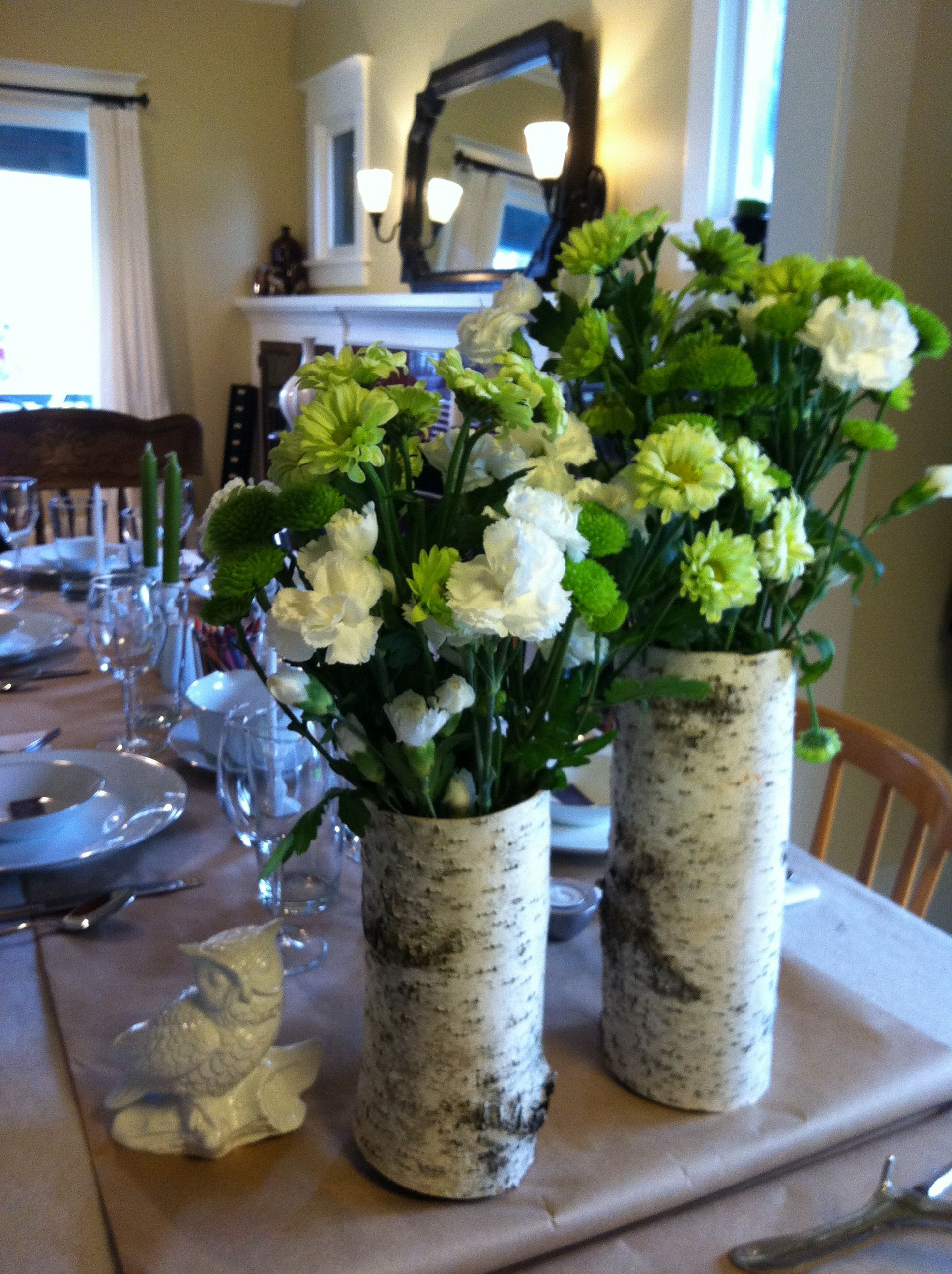 Thanksgiving Table Set With Birch Tree Vases And Green And