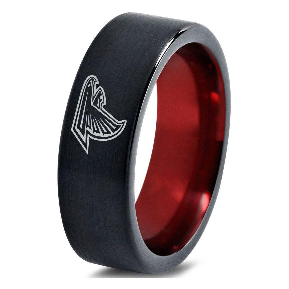 Atlanta falcons black and red tungsten ring atlanta