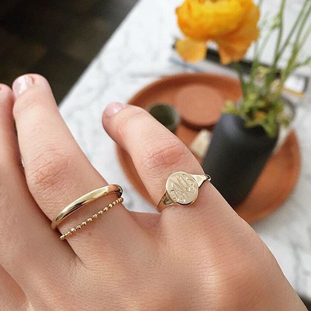 40ccd932d Vale Jewelry Skinny Signet Ring with monogram | EDITORIAL | Jewelry ...