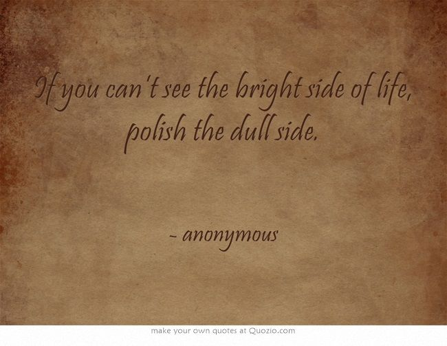 If you can't see the bright side of life, polish the dull side.