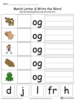 OG Word Family Match Letter and Write the Word in Color | Pinterest ...