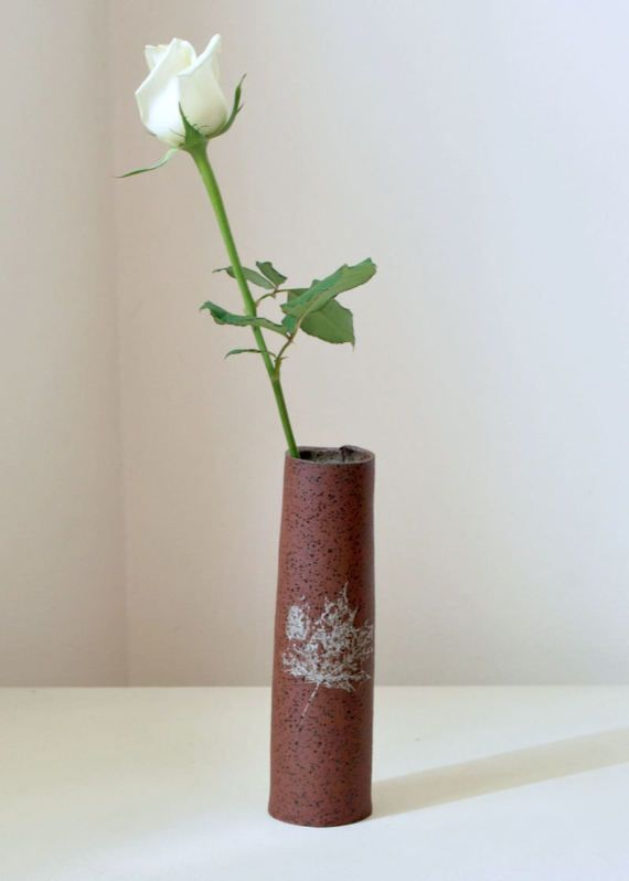Ceramic Bud Vase Speckled Terracotta Bud Vase Housewares Vase