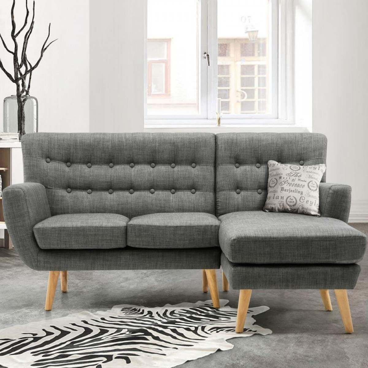 Loft Grey Fabric Corner Sofa Grey Corner Sofa Wooden Living Room Furniture Corner Sofa