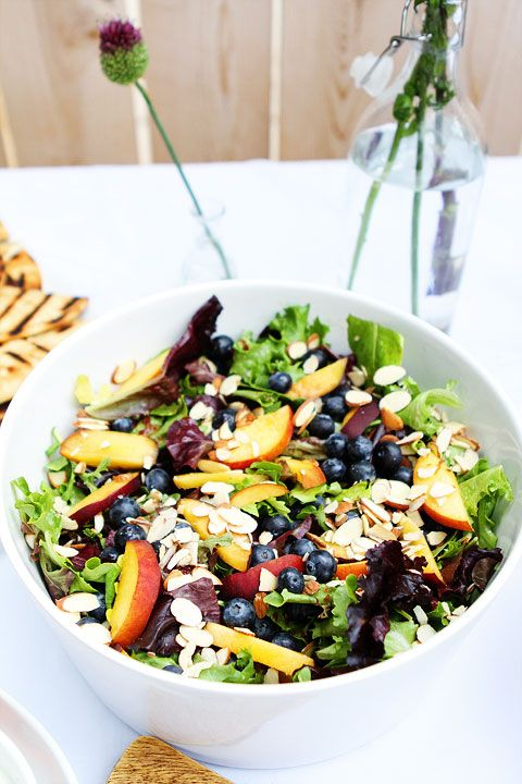 Salad Ideas For Dinner Party Part - 50: Summer Outdoor Dinner Party - Salad With Peaches, Blueberries, And Sliced  Almonds