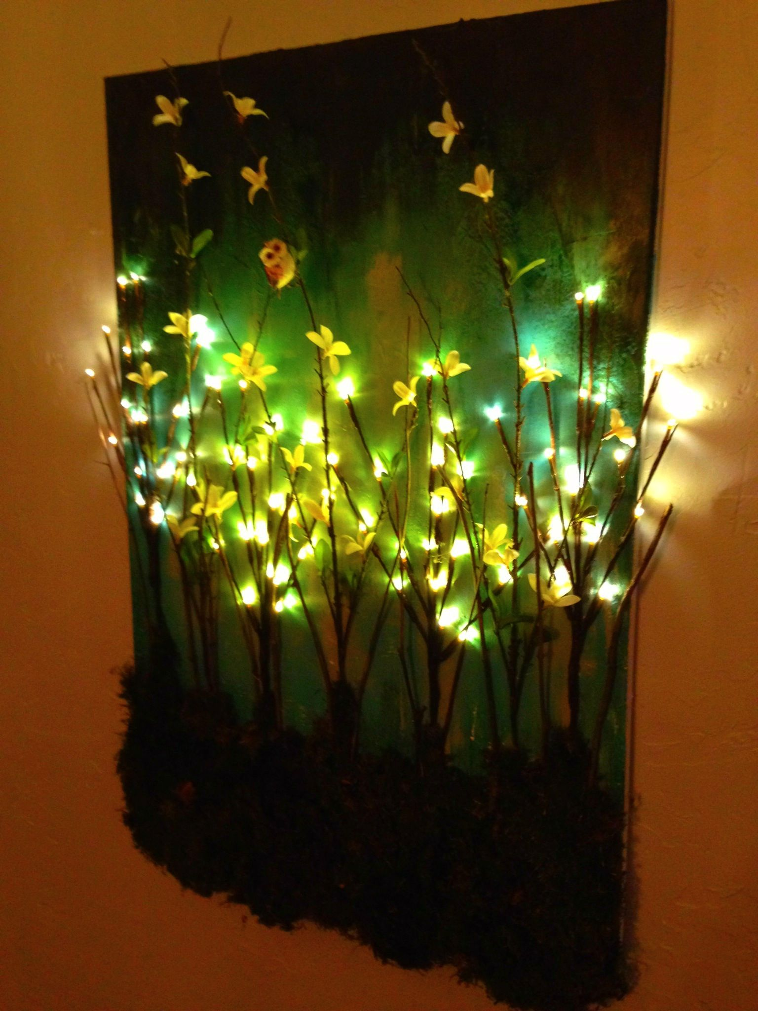 Wall Art With Lights made this diy light up branches on painted canvas | craftiness