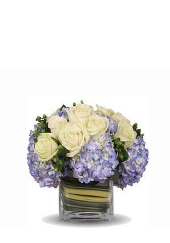 Flower arrangement of blue hydrangea and white roses with a touch of ...