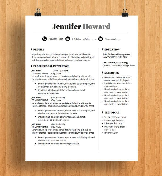 Professional Resume Template CV and Cover Letter Creative Resume