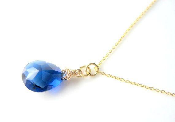 Blue Quartz Necklace  Wire Wrapped Quartz by JemsbyJBandCompany