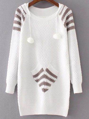 White Ribbed Trim Hooded Long Sweater With Pocket